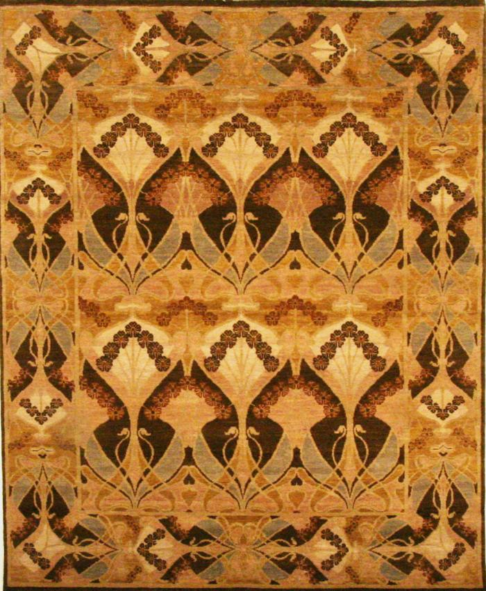 zoomable rug pattern image showing design of the deco brown coloured art deco rug  from the hali collection