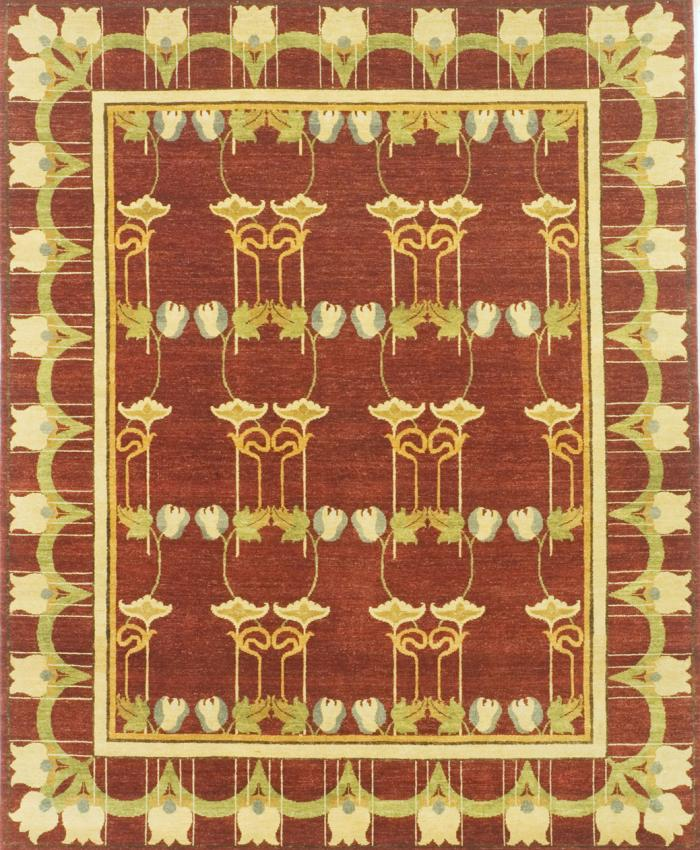 Pattern view image showcasing the design of the tulip rust coloured william morris rug from the Hali 20th century  collection