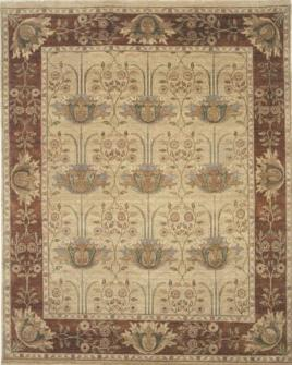 pattern tile showing the design of the dhalia beige and rust rug from the hali william morris collection