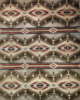 zoomable rug pattern image showing design of the navajo inspired payote brown rug from the hali tribal collection