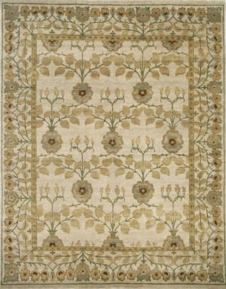 A birds eye view of the golden bough beige rug pattern from the hali william morris collection