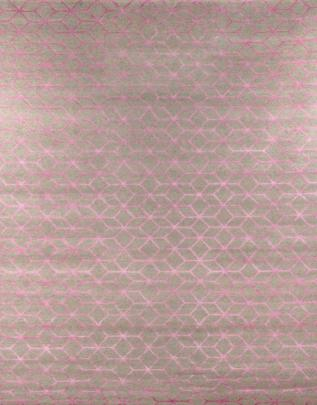 Pattern view image showcasing the design of the cubic pink geometric silk and new zealand wool rug from the Hali collection