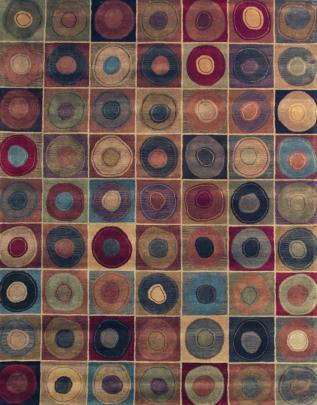 Pattern view image showcasing the design of the LP multi coloured rug from the Hali retro collection