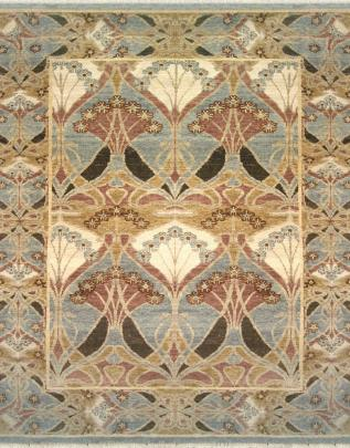 zoomable rug pattern image showing design of theswan light blue rug from the hali william morris collection
