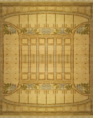 zoomable rug pattern image showing design of the pressed metal beige rug from the  william morris hali collection