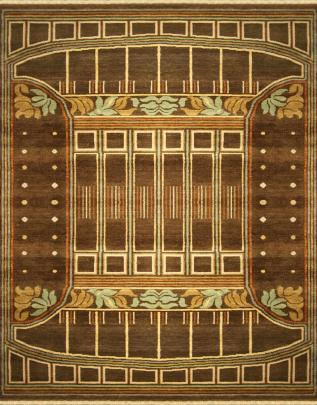 Pattern view image showcasing the design of the pressed metal brown rug from the Hali william moris 20th century  collection