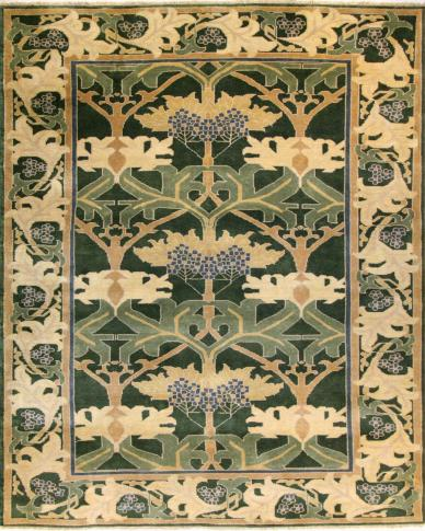 a full pattern view of the fintona green rug pattern from the hali william morris collection